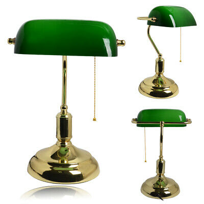 Large Traditional Bankers Lamp Green Brass Vintage Desk Table Office LED Light