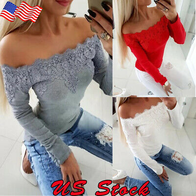 Fashion Women Off Shoulder Tank Tops Lace Sexy Blouse T-Shirts Casual Party