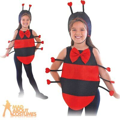 Kids Ladybird Costume Ladybug Bugs Insect Girls Boys Childs Fancy Dress Outfit