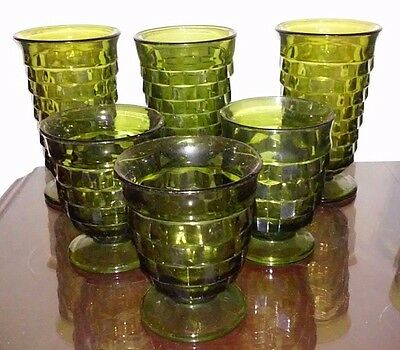 1960'S Indiana Glass Whitehall Cubist Pattern Footed  Green  Tumbler Lot Of 5