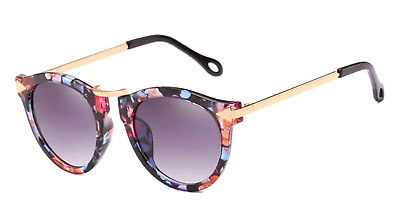 Flower Design Polarized Sunglasses Women Retro Fashion Mirrored Cat Eye Shades