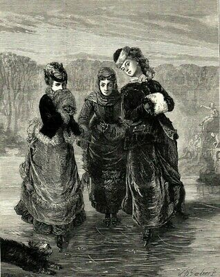 Antique Art print 1879 Ladies Ice Skatiing The First Lesson Victorian Fashion