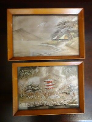 Pair Of Small Japanese Silk Pictures.