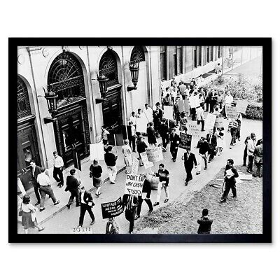 Vintage Civil Rights Protest Jim Crow Columbia University 12X16 Framed Art Print