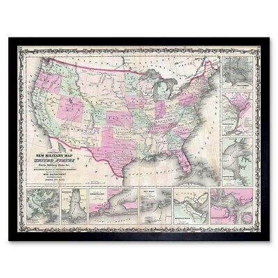 Geography Map Illustrated Antique Johnson Military Usa Civil War Framed Print