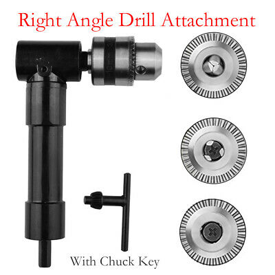 Right Angle Drill Attachment 8mm Shaft 90 Degree Chuck Key Electric Drill Tool