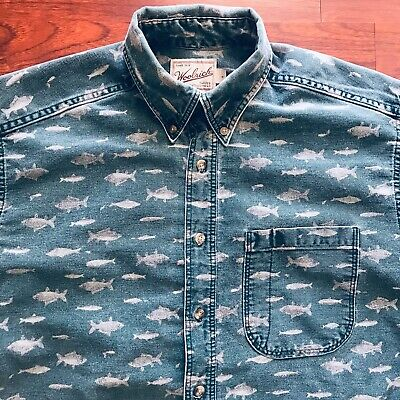 2f06c4ca5ce49 Vintage Woolrich Mens Fish Print Long Sleeve Camping Button Up Shirt Made  In USA