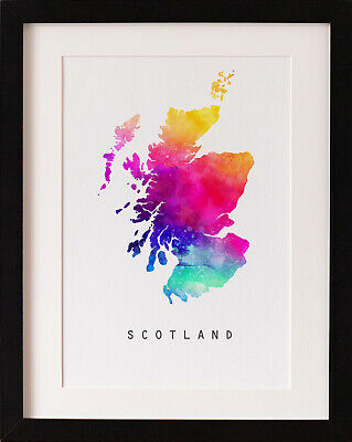 FRAMED Scotland Map Print, Rainbow Watercolour Wall Art, FAB PICTURE GIFT