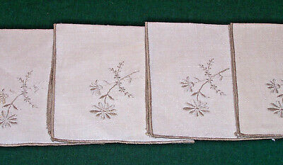 """4 Vintage Floral Hand Embroidered Linen Napkins, Luncheon Sized 10"""", Never Used"""