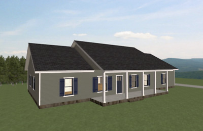 Ranch House Plans 1599 SF 3 Bed 2 Bath Split Bedrooms Open Floor (Blueprints)