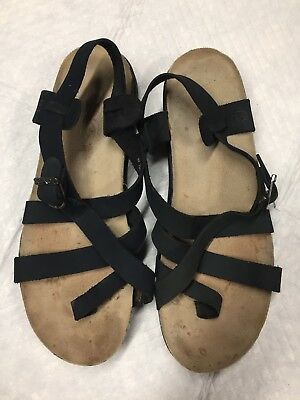 6d32e63fd37d Teva Leather Sandals Strappy Catalina Cork Waterproof Womens US size 8 Navy  Blue