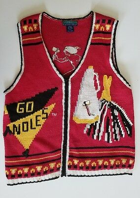 FSU vintage Seminoles GO NOLES Men's Vest cable knit sweater LARGE