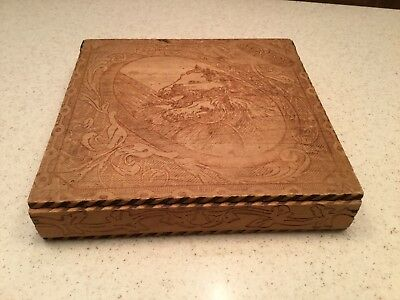 Vintage Old Pyrography Burnt Wood Dresser Box Horse Equestrian Different