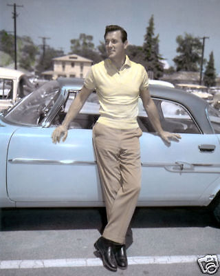 """ROCK HUDSON 1955 HOLLYWOOD ACTOR 8x10"""" HAND COLOR TINTED PHOTOGRAPH"""