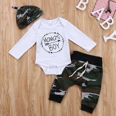 AU Mama's Boy Newborn Infant Baby Romper Top Pants Hat 3Pcs Outfit Set Clothes