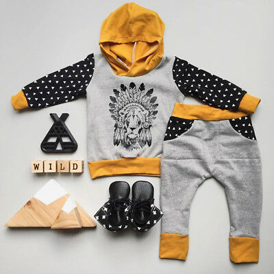 AU Lion Newborn Baby Kids Boys Hooded Tops+Long Pants 2pcs Clothes Outfits Sets