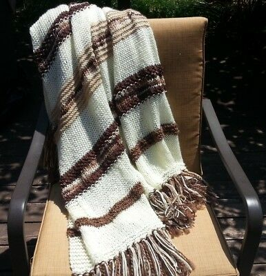 Afghan Throw Blanket Knitted Handmade Creamy Off White Brown Beige Soft Decor