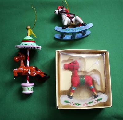 VINTAGE, Lot of 3  CHRISTMAS Ornaments, Rocking Horses and Carousel Horse