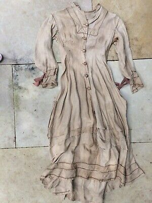 Exquisitely Detailed Antique Victorian Chestnut Linen Dress- Woman's size Medium