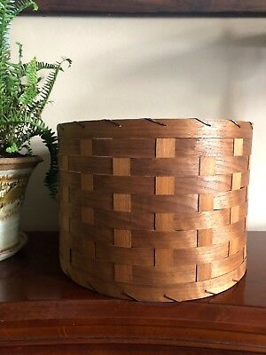 Wood Slat VINTAGE Woven Barrel Lamp Shade MID CENTURY MODERN Unique