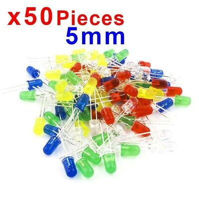 x50 pcs 5mm LED Diode Kit Mixed Color Red Green Yellow Blue White 4001§