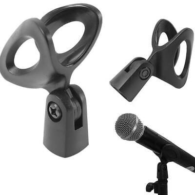 5* Microphone Clip Holder Mount Mic Stand Clamp Accessory Plastic Black Durable