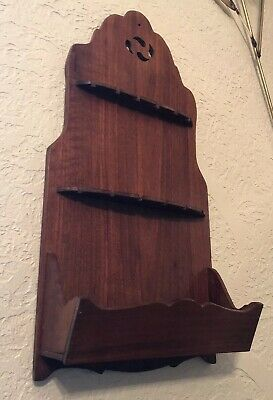 Antique 1930-40's Hand-Made Walnut Wood Wall Hanging Spoon Rack Wall Pocket