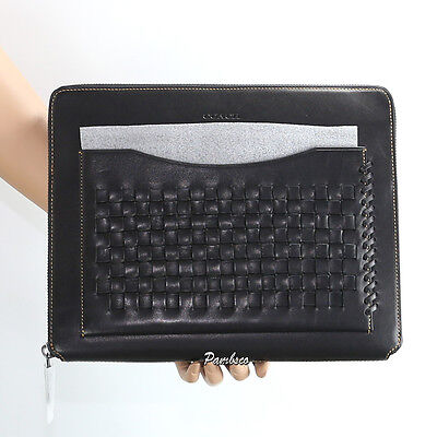 NWT Coach Rip And Repair Woven Business Tech Case Tablet Portfolio Black 66287