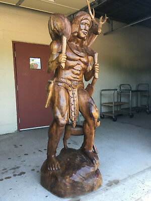 7 Foot Tall Vintage Hand Carved One Piece Mahogany Indian Statue With Deer & Dog