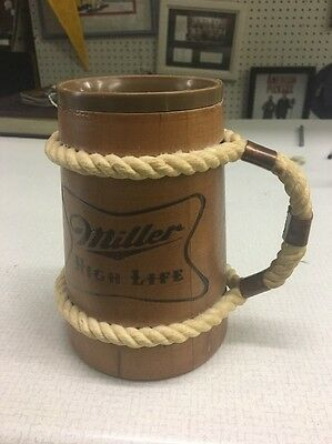 vintage Miller High Life rope handle mug stien beer collectible plastic insert