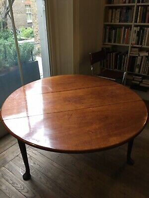 Antique Georgian mahogany drop leaf dining table 147cm X 135cm Open - 147cm X 47