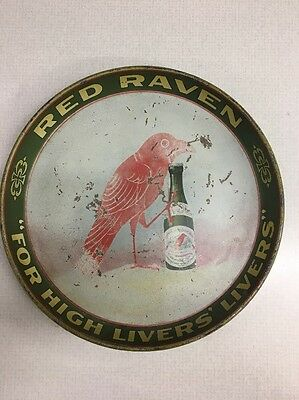 Vintage COLORFUL RED RAVEN ADVERTISING metal serving TRAY APERIENT WATER old