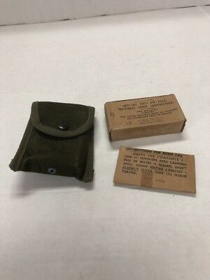 WWII WW2 First Aid Bandage Belt Pouch with sealed contents and belt hook
