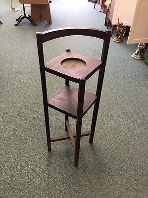 Antique Arts & Crafts Mission wood Smoking Stand w/ Handle Ashtray plant stand