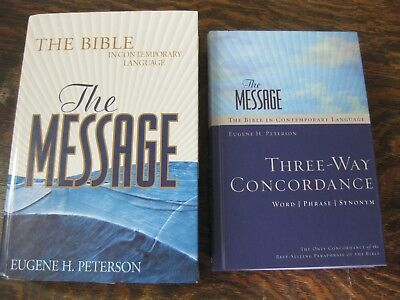 THE MESSAGE THE Bible in Contemporary Language & Three-way Concordance  Peterson