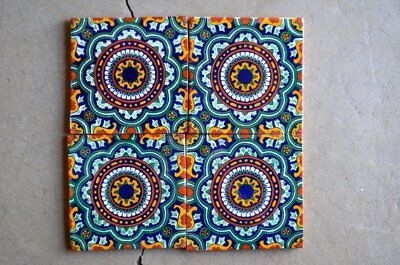"""12 Mexican Talavera Tiles.Hand made-Hand painted 6 """"X 6"""""""