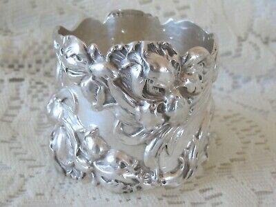 Antique Floral Iris Repousse Sterling Silver Napkin Ring Monogram 49g Hallmarked
