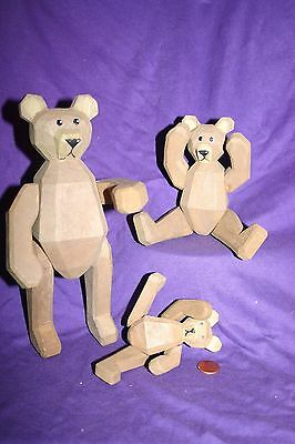3 BEARS posing articulated wood carving mini doll figurine