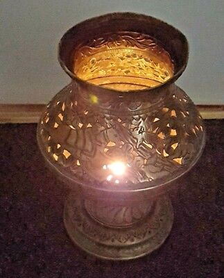 Antique Middle East Islamic Arabic 1ft High Handmade Brass Vase Candle Light Pot