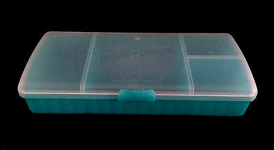 Tupperware Lunch N Things Divided Container Storage Keeper Aqua White Hinged Lid