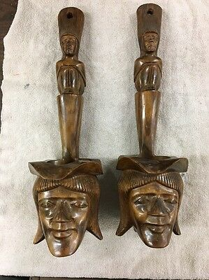 pair of Vintage Wooden wall hanging tribal spirit totem pole pipe planters