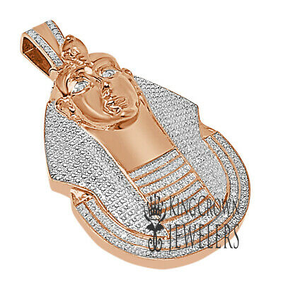 Real Genuine Diamonds KIng Tut Egyptian Pharaoh Charm Rose Gold Pendant 2.35''