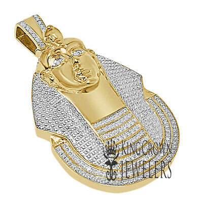 Genuine Diamond KIng Tut Egyptian Pharaoh Charm Yellow Gold Tone Pendant 2.35''