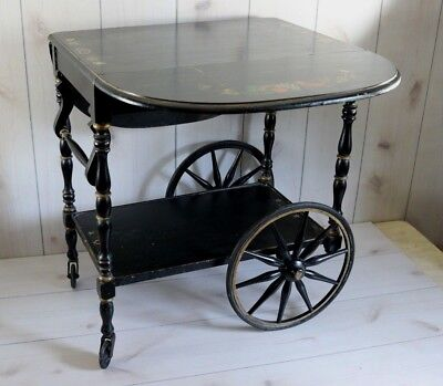 Antique Vintage Wood Tea Cart Wagon Wheel Dual Drop Leaf Black Tole Painted