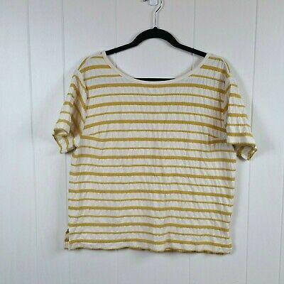 db7e050e99 OLD NAVY VINTAGE V-Neck Yellow White Striped Tee T-Shirt Top Size ...