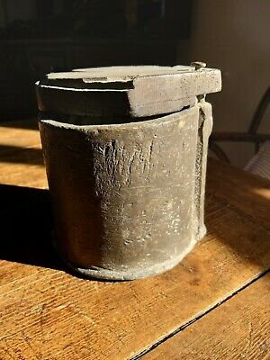 Strange Antique Lead Pot With Wooden Base And Lid