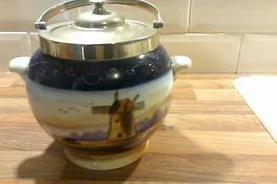 Antique Japanese Oldmill China Handpainted Ceramic Ice Bucket Silver Plated