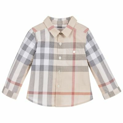 NWT NEW Burberry baby boys Trauls pale classic check shirt 6m or 18m