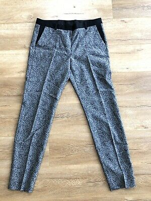 The Kooples Womens Pants Size 38 Gray Animal Print Slim Cut Pleated Front