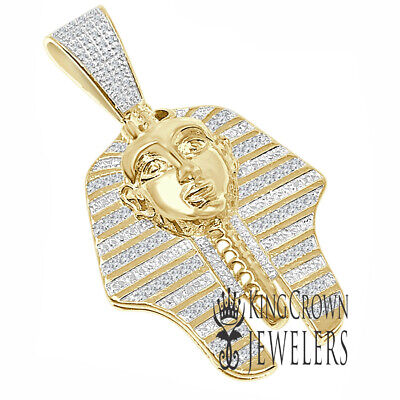 "Real Diamond Yellow Gold Finish Egyptian Pharaoh King Tut 2"" Pendant 14 + Grams"